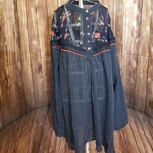 Free People Striped Shirt with Floral Print Sz Lg
